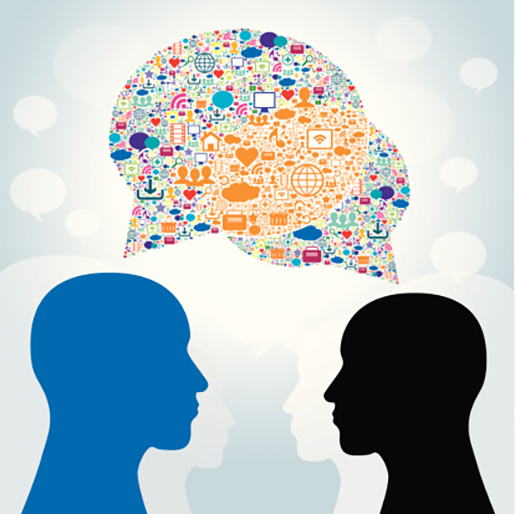 images of individuals sharing and speaking